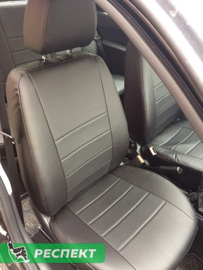 Черные авточехлы из экокожи на Datsun on-Do 2017г. с дизайном 'обычный' без декоративных строчек производства Респект