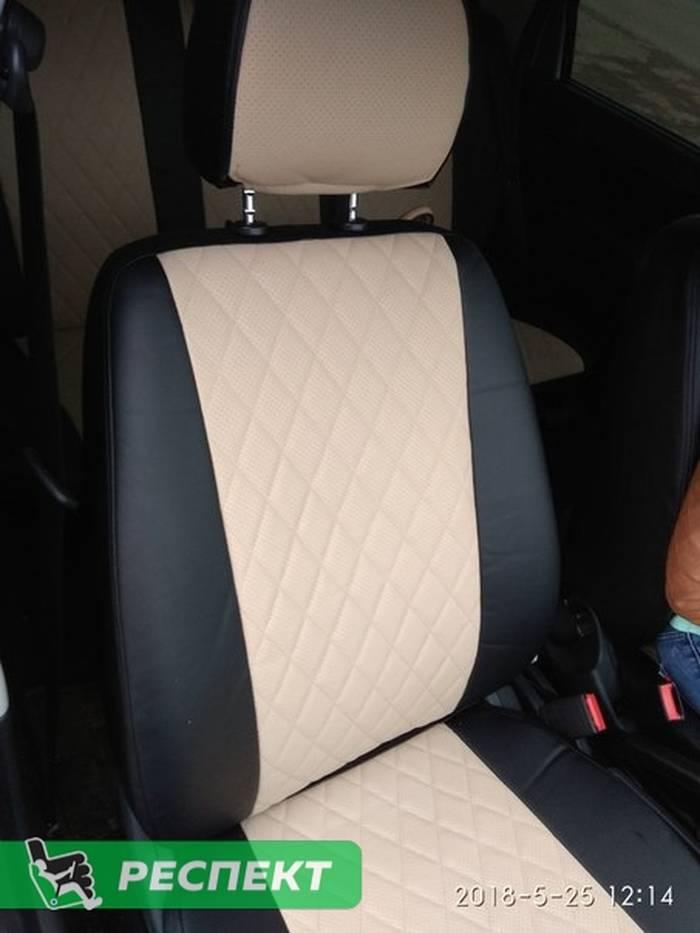 Черно-бежевые авточехлы из экокожи на Datsun on-Do 2017г. с дизайном 'ромбы' без декоративных строчек производства Респект