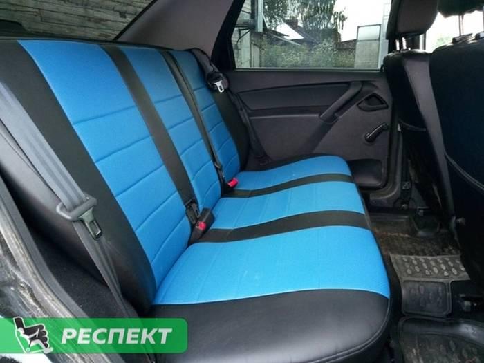 Черно-синие авточехлы из экокожи на Datsun on-Do 2018г. с дизайном 'обычный' без декоративных строчек производства Респект
