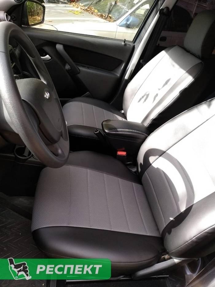 Черно-серые авточехлы из экокожи на Lada Granta 2017г. с дизайном 'обычный' без декоративных строчек производства Респект