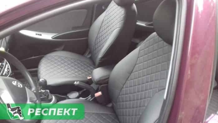 Черные авточехлы из экокожи на Hyundai Solaris 2014г. с дизайном 'квадраты' без декоративных строчек производства Респект