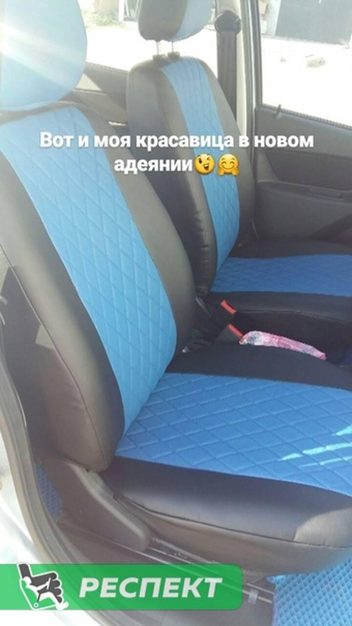 Черно-синие авточехлы из экокожи на Datsun mi-Do 2018г. с дизайном 'ромбы' без декоративных строчек производства Респект