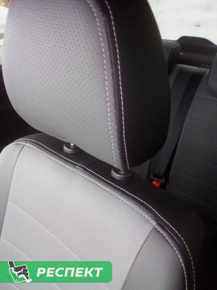 Черно-серые авточехлы из экокожи на Datsun mi-Do 2019г. с дизайном 'обычный' и двойной декоративной строчкой белыми нитками производства Респект