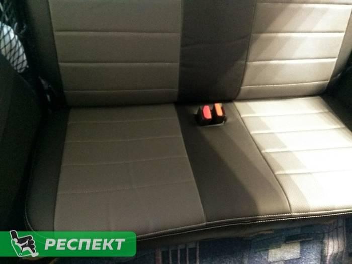 Черно-серые авточехлы из экокожи на Lada Largus 2017г. с дизайном 'обычный' и двойной декоративной строчкой серыми нитками производства Респект