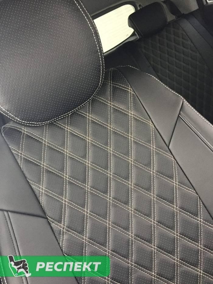 Черные авточехлы из экокожи на Hyundai Creta 2019г. с дизайном 'двойные ромбы' и двойной декоративной строчкой бежевыми нитками производства Респект