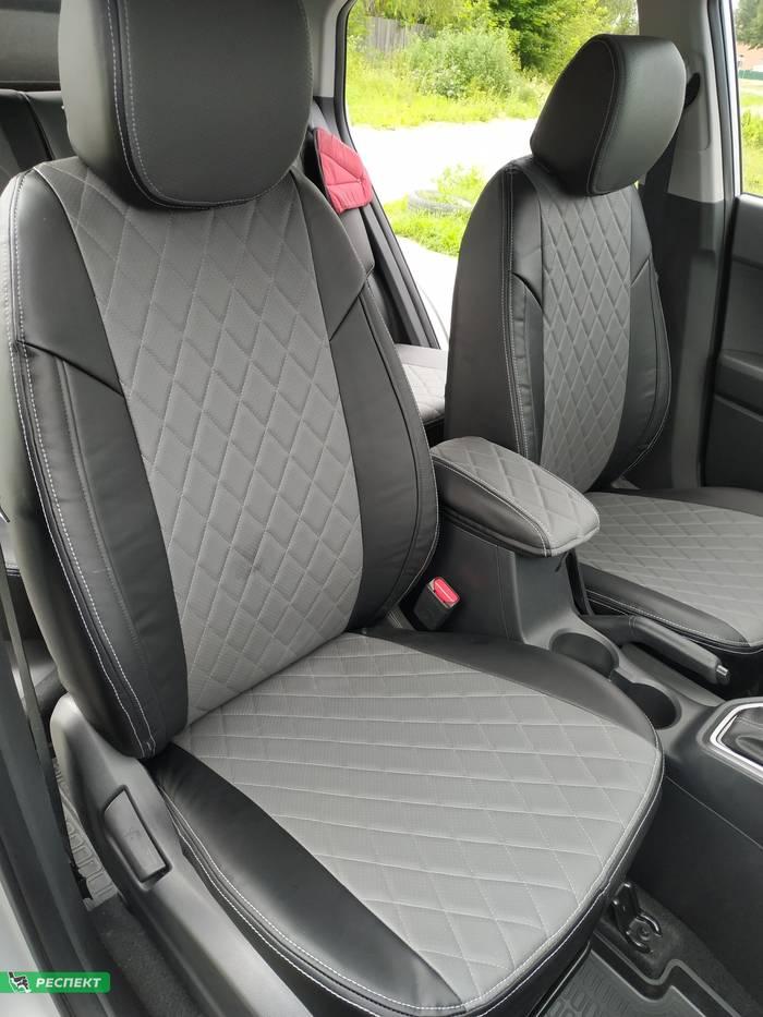 Черно-серые авточехлы из экокожи на Hyundai Creta 2018г. с дизайном 'ромбы' и двойной декоративной строчкой производства Респект