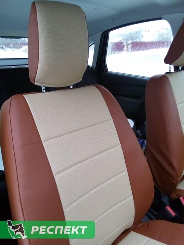 Коричнево-бежевые авточехлы из экокожи на Lada Granta 2014г. с дизайном 'обычный' без декоративных строчек производства Респект