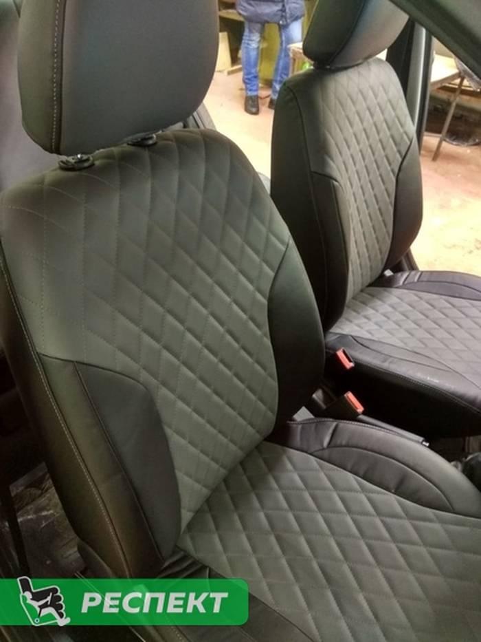 Черно-серые авточехлы из экокожи на Lada Granta FL 2019г. с дизайном 'ромбы' и одинарной декоративной строчкой серыми нитками производства Респект