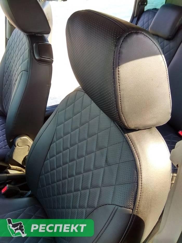 Черные авточехлы из экокожи на Ford Fusion 2010г. с дизайном 'ромбы' и одинарной декоративной строчкой черными нитками производства Респект
