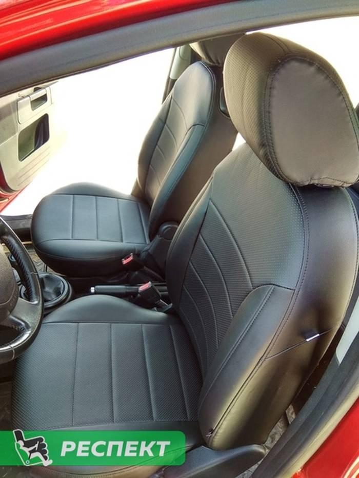 Черные авточехлы из экокожи на Ford Fusion 2010г. с дизайном 'обычный' и одинарной декоративной строчкой черными нитками производства Респект