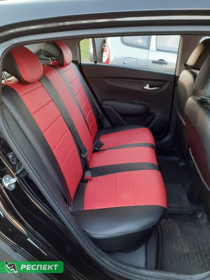 Черно-красные авточехлы из экокожи на Hyundai Creta 2020г. с дизайном 'обычный' без декоративных строчек производства Респект