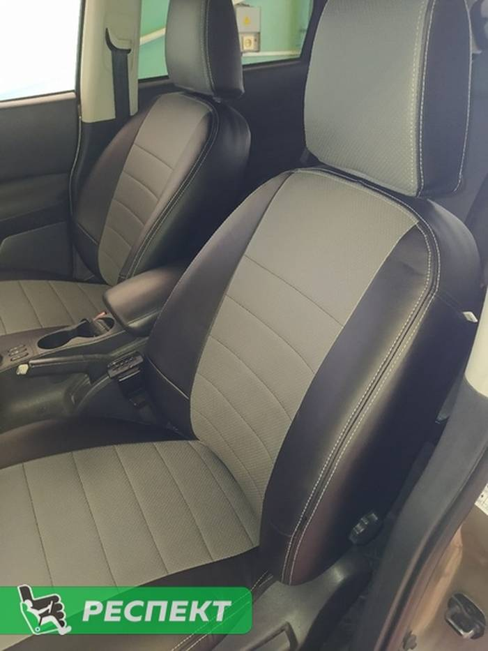 Черно-серые авточехлы из экокожи на Nissan Qashqai 2012г. с дизайном 'обычный' и двойной декоративной строчкой производства Респект
