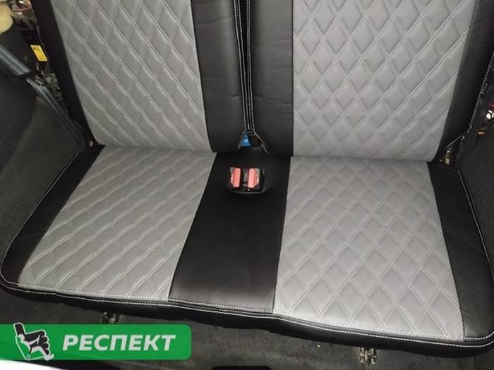 Черно-серые авточехлы из экокожи на Lada Largus 2018г. с дизайном 'двойные ромбы' и двойной декоративной строчкой серыми нитками производства Респект