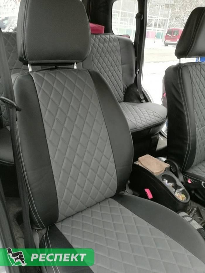 Черно-серые авточехлы из экокожи на Chevrolet Niva 2015г. с дизайном 'ромбы' и двойной декоративной строчкой серыми нитками производства Респект