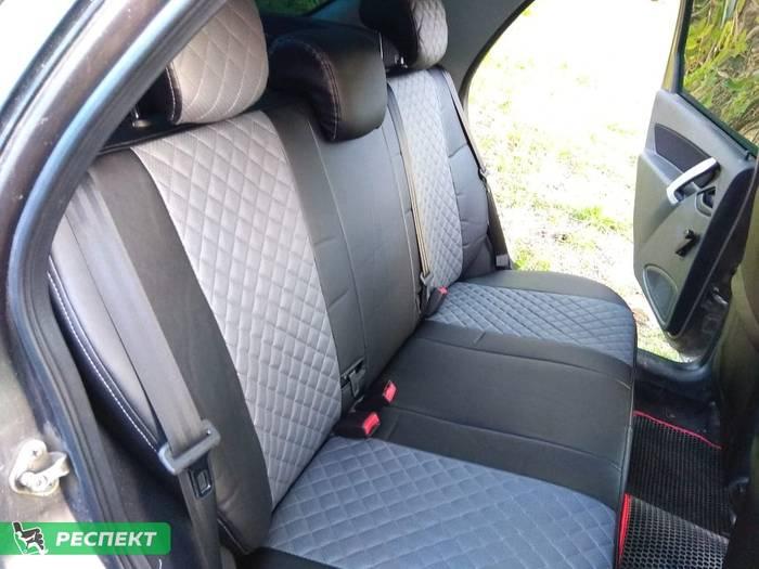 Черно-серые авточехлы из экокожи на Datsun on-Do 2018г. с дизайном 'мелкие квадраты' и одинарной декоративной строчкой серыми нитками производства Респект