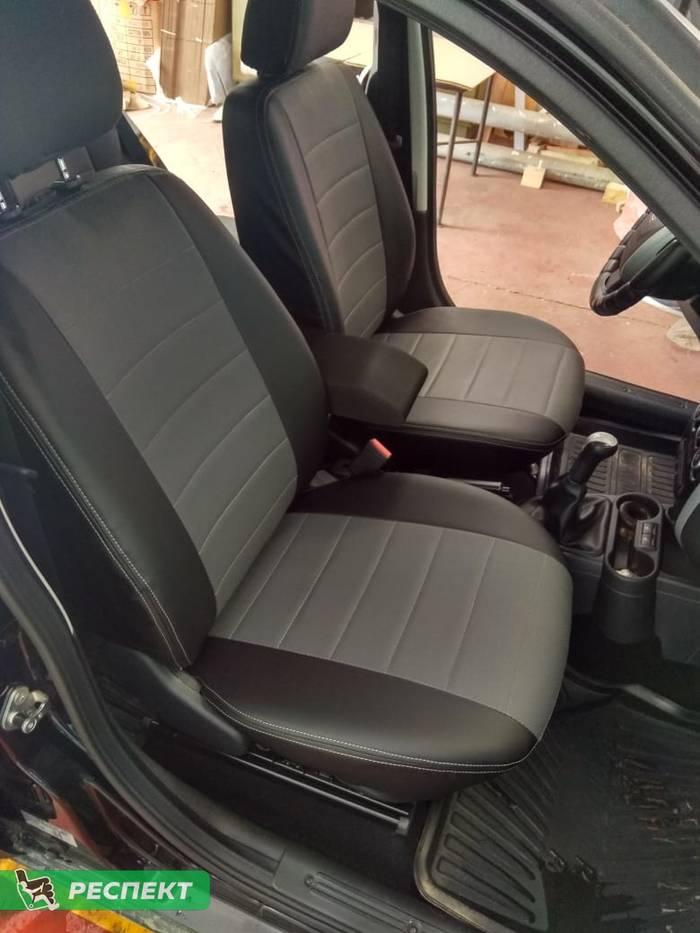 Черно-серые авточехлы из экокожи на Datsun mi-Do 2018г. с дизайном 'обычный' и двойной декоративной строчкой белыми нитками производства Респект