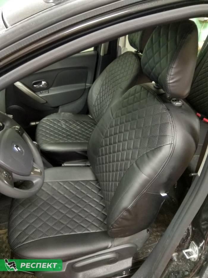 Черные авточехлы из экокожи на Renault Sandero 2014г. с дизайном 'квадраты' без декоративных строчек производства Респект
