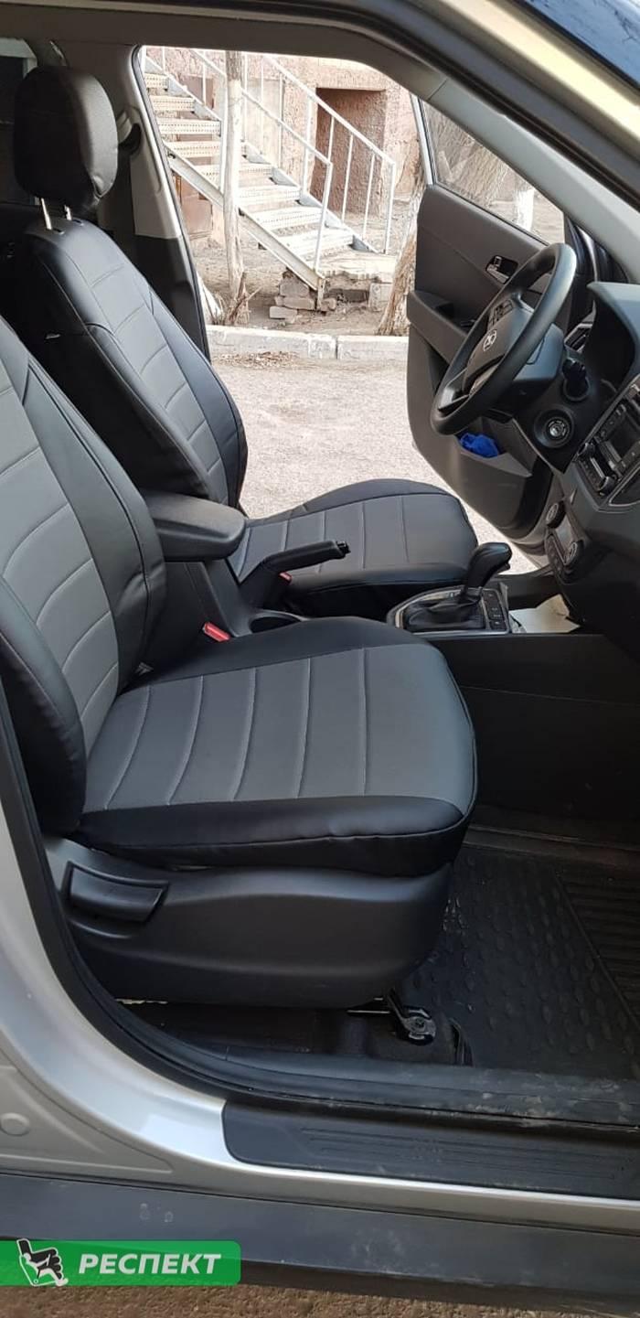Черно-серые авточехлы из экокожи на Hyundai Creta 2018г. с дизайном 'обычный' без декоративных строчек производства Респект