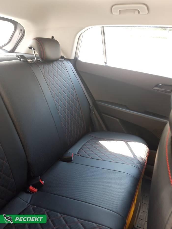 Черные авточехлы из экокожи на Hyundai Creta 2019г. с дизайном 'ромбы' и двойной декоративной строчкой красными нитками производства Респект