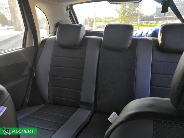 Черно-серые авточехлы из экокожи на Datsun mi-Do 2018г. с дизайном 'обычный' без декоративных строчек производства Респект
