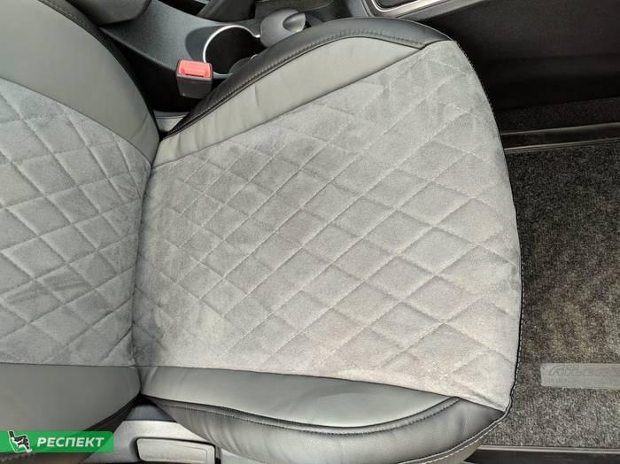 Черно-серые авточехлы из экокожи на Hyundai Solaris 2017г. с дизайном 'ромбы' и одинарной декоративной строчкой серыми нитками производства Респект