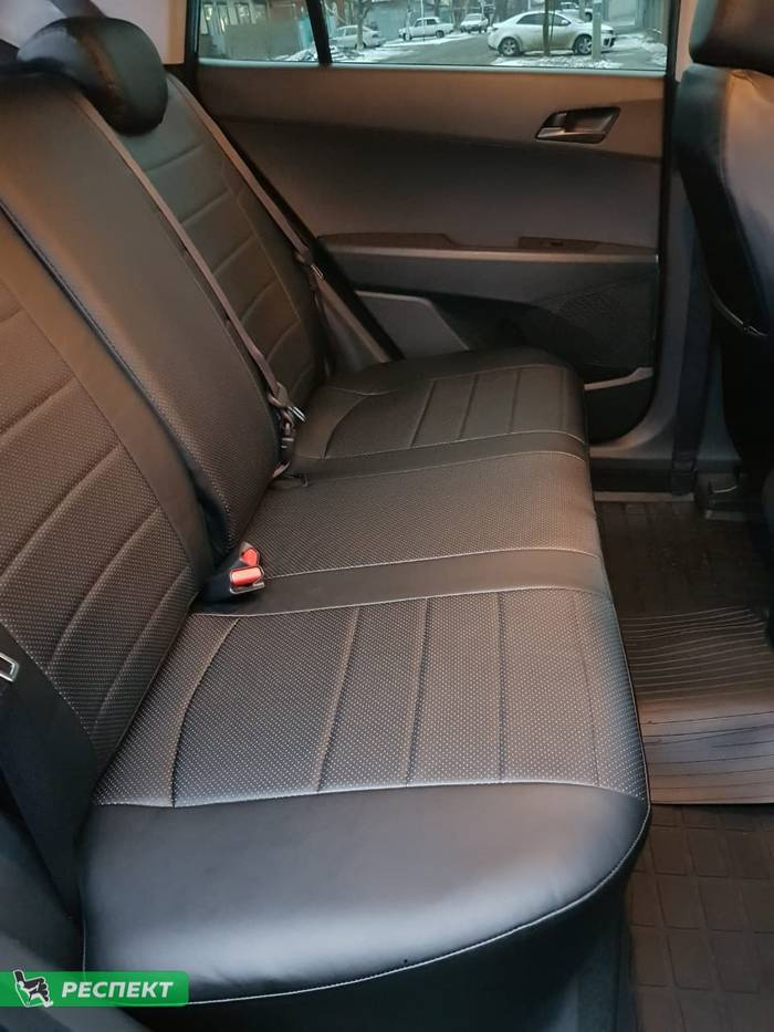 Черные авточехлы из экокожи на Hyundai Creta 2019г. с дизайном 'обычный' без декоративных строчек производства Респект