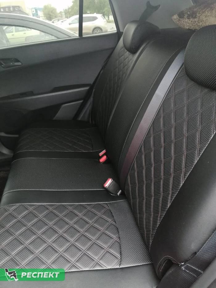 Черные авточехлы из экокожи на Hyundai Creta 2019г. с дизайном 'двойные квадраты' и двойной декоративной строчкой производства Респект