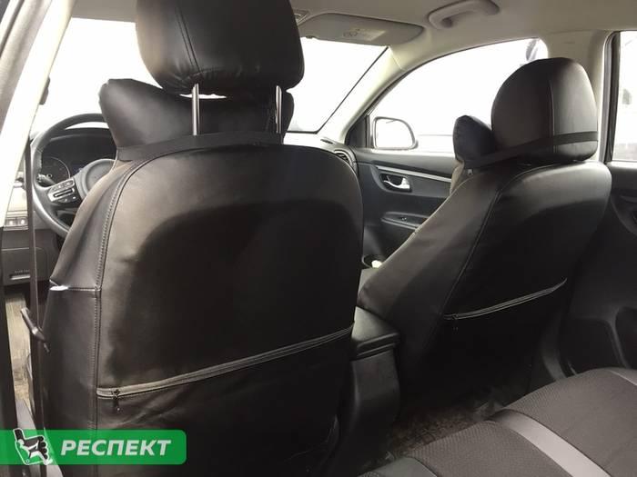 Черные авточехлы из экокожи на Hyundai Creta 2018г. с дизайном 'обычный' без декоративных строчек производства Респект
